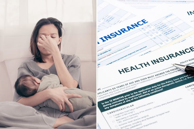 Left: mum holding babyRight: Health insurance papers
