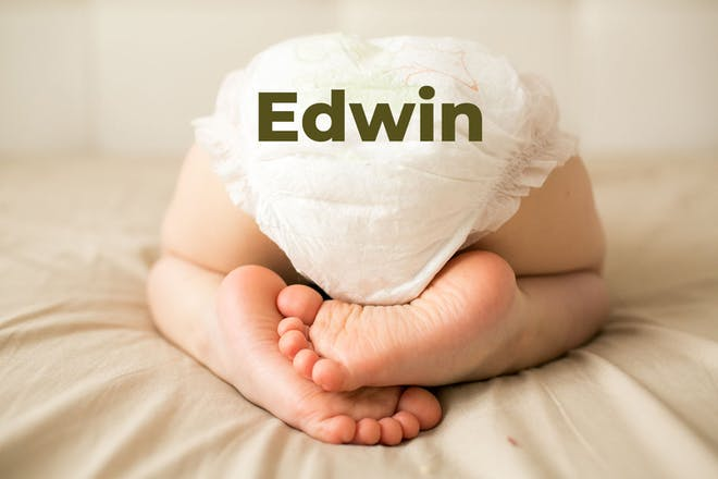 Baby's bottom in nappy. Name Edwin written in text