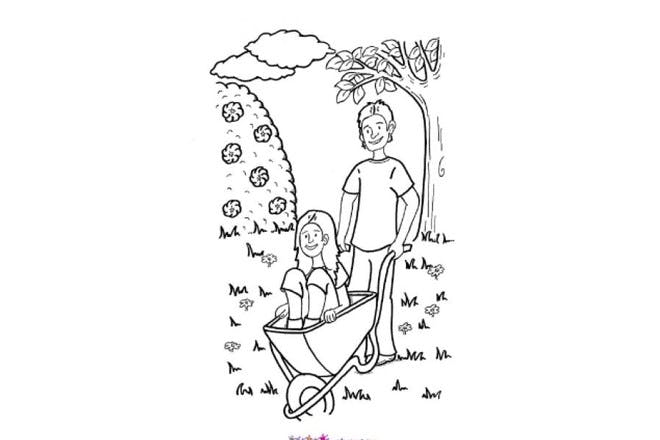Fun in the garden with daddy