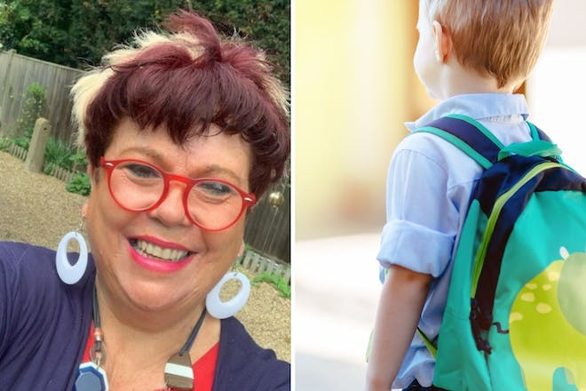 Left: Woman in glassesRight: boy with rucksack on shoulders