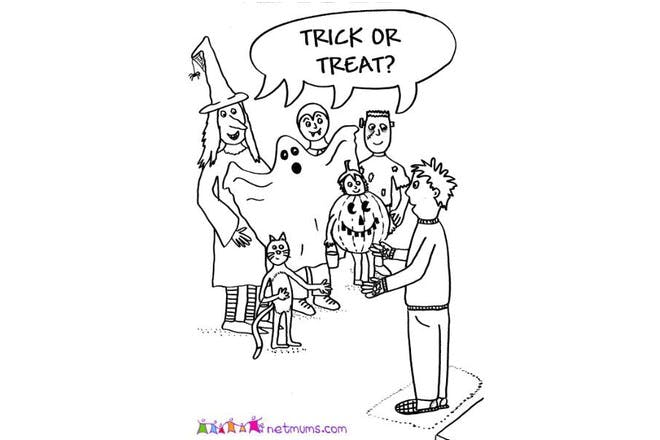 Halloween colouring page of people trick or treating