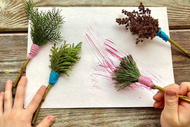 Paintbrushes made with leaves