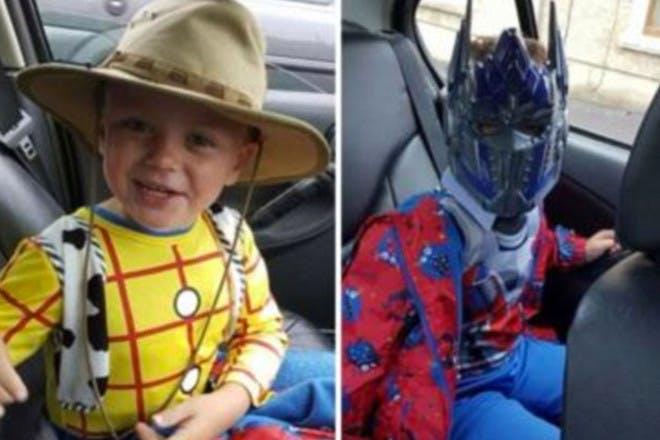 Boys in fancy dress costumes