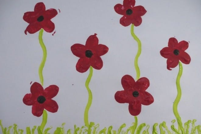 Finger printed poppies