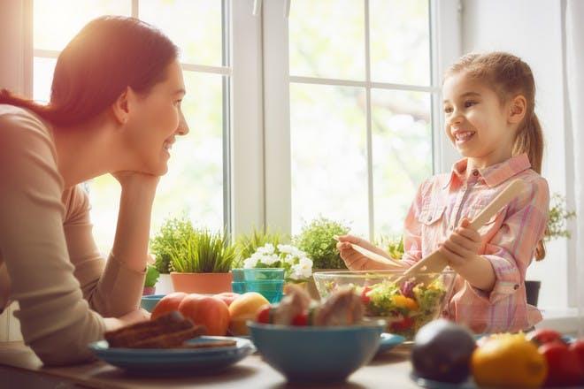 Mum and child in kitchen