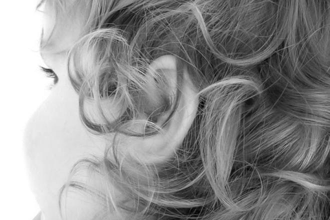 child hair in black and white