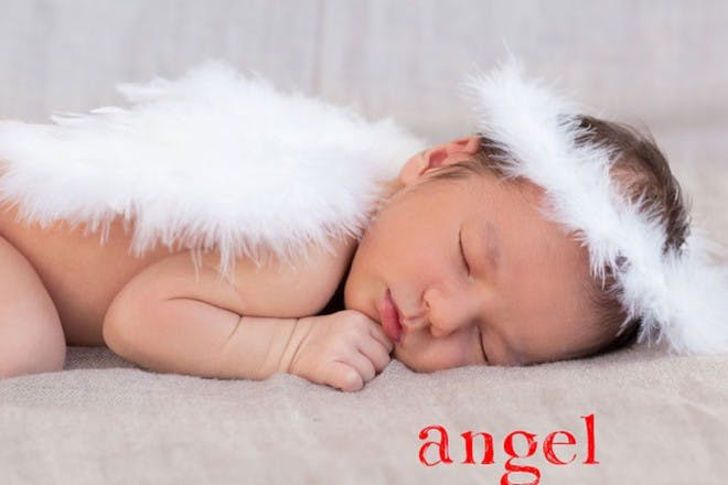 sleeping baby with wings and halo