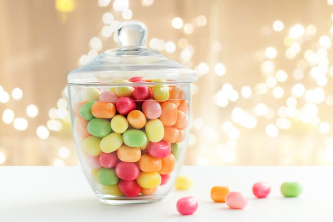 Glass jar full of sweets