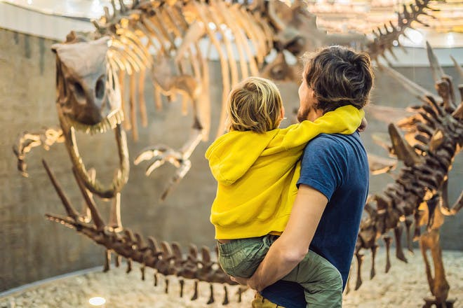 Dad and son in museum