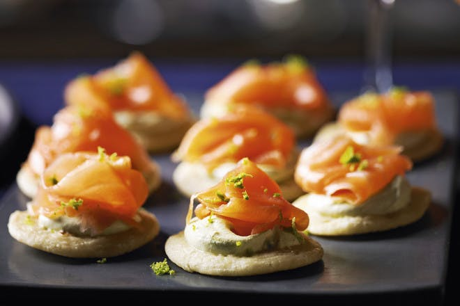 Salmon, lime and sake blinis, easy canape recipe