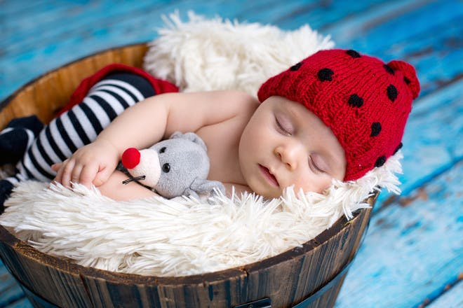 Baby boy with red hat