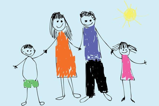 child drawing family illustration