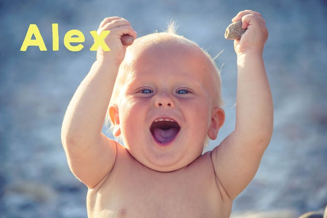 Baby holding stones and laughing on beach. Text says Alex