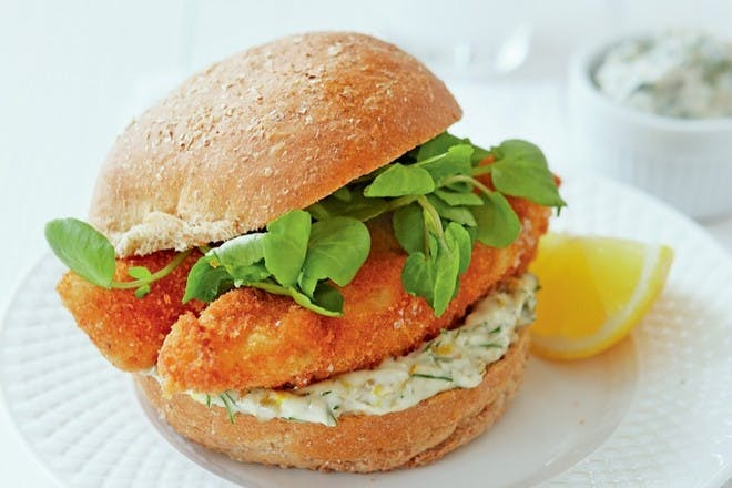 Fish finger butty with lemon mayo