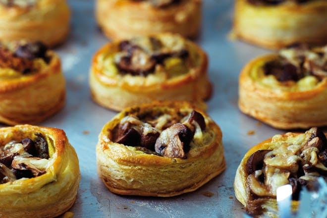 Mushroom and mozzarella tarts