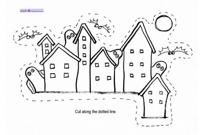 Halloween colouring page of haunted houses