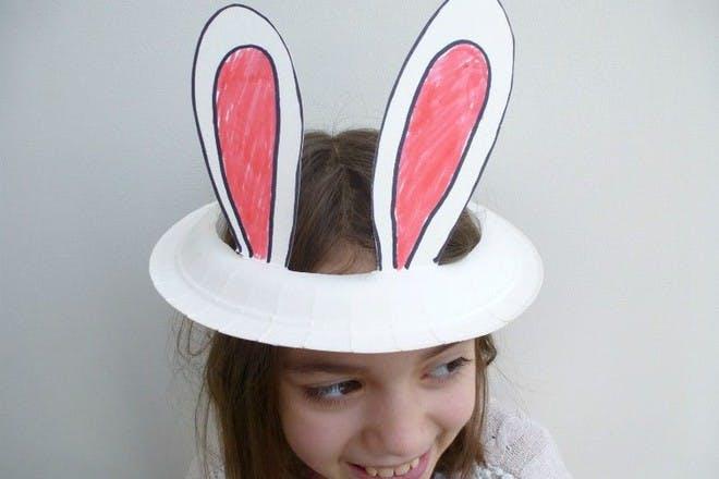 paper plate bunny ears hat