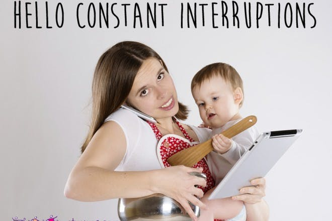 woman trying to hold baby, tablet and pot