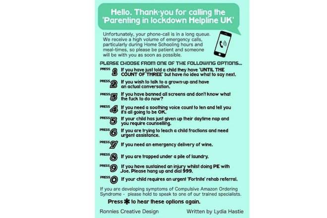 Parenting lockdown helpline poster