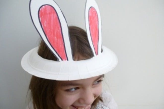 How to make a paper plate bunny ear Easter bonnet