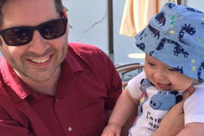 baby on holiday with dad