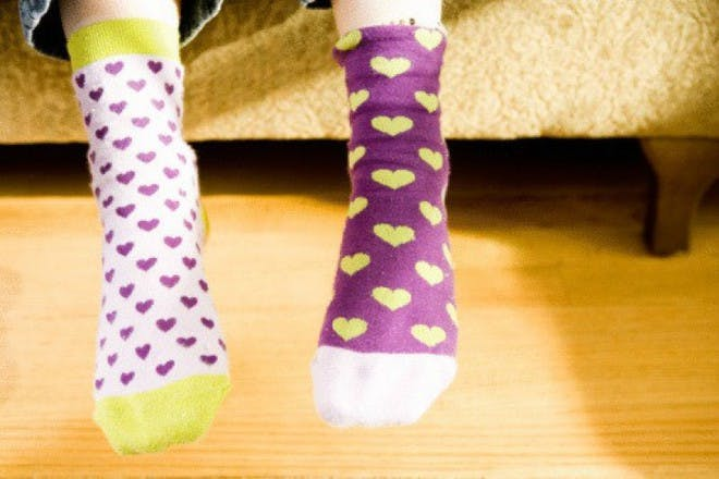 colourful heart socks
