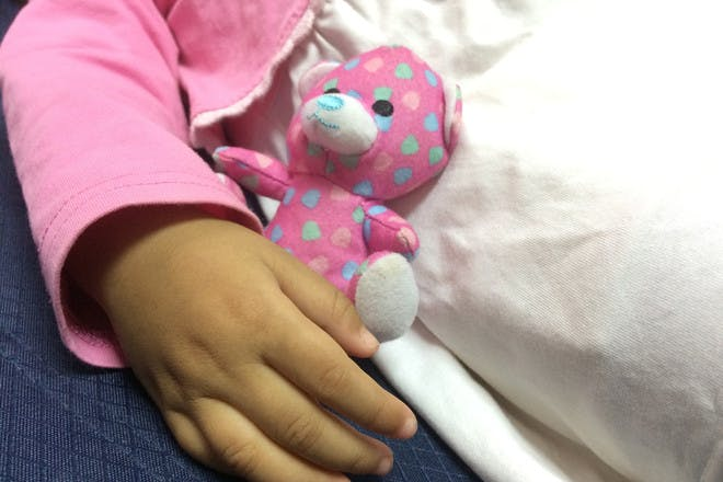 Child's hand holding small teddy