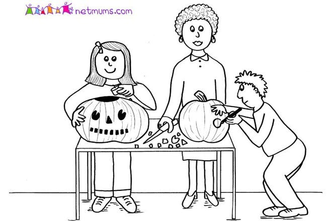 Halloween colouring page of family carving pumpkins
