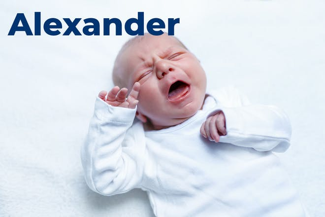Crying baby with name Alexander written in text