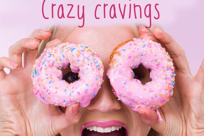 woman with donuts over eyes