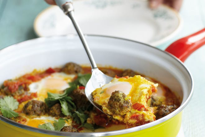 One-pan meatballs with eggs recipe by Anjum Anand