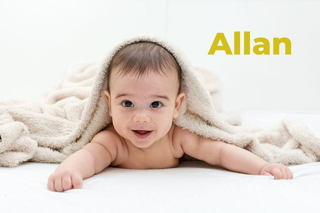 Baby with beige blanket. Name Allan written in text