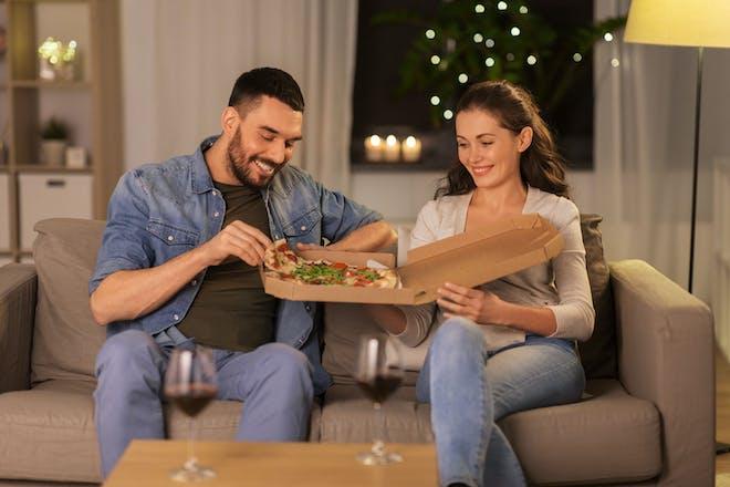 Couple enjoying a takeaway
