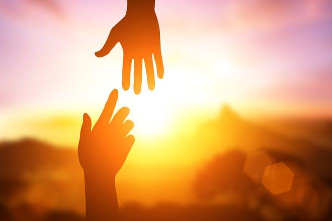 helping hands sunset