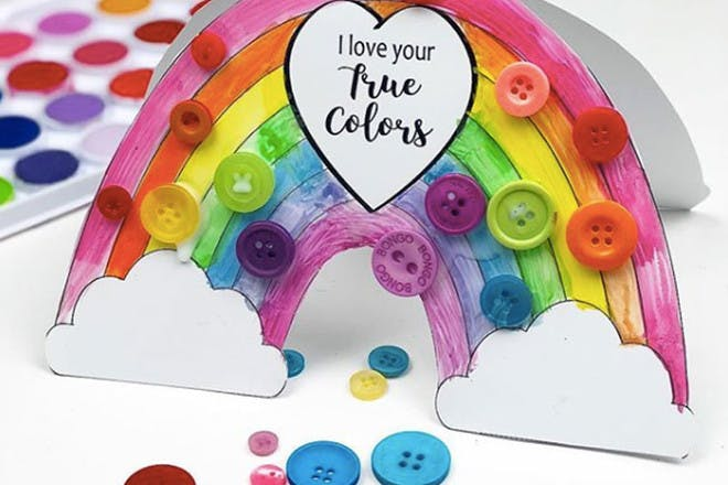 Mother's Day card with rainbow and buttons