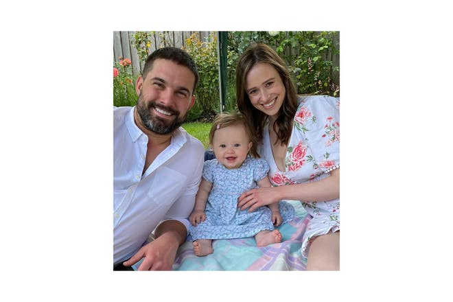Jamie Jewitt and Camilla Thurlow with their daughter, Nell