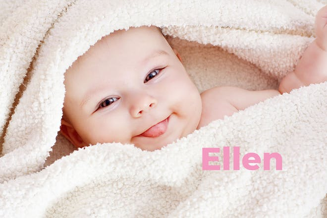 Baby wrapped in towel with tongue out. Name Ellen written in text