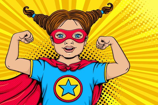 illustration of superhero child