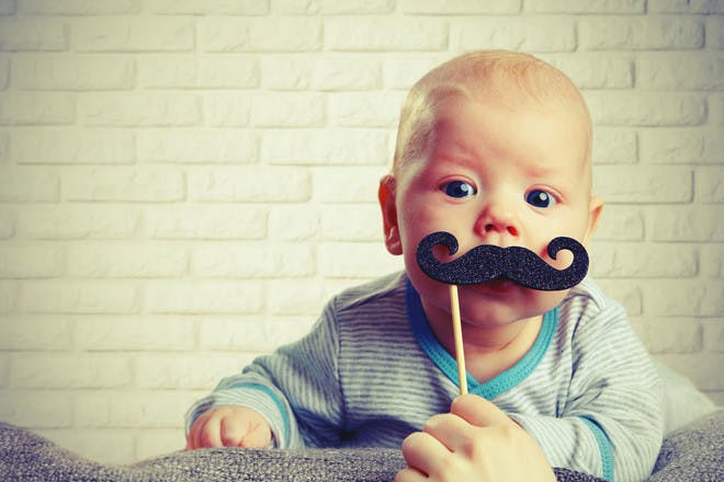 baby boy with comedy moustache