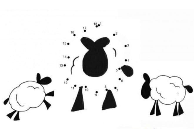 25. Sheep and lambs dot-to-dot