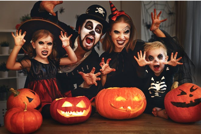 family dressed for halloween