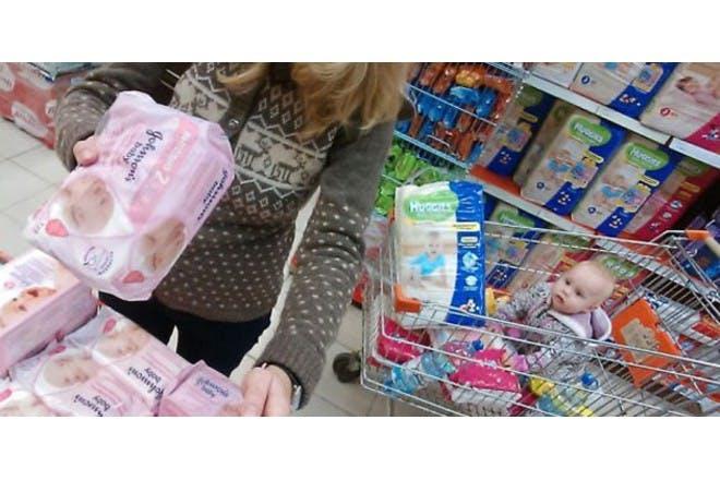 mum and baby at shop