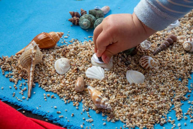 Toddler playing with sand and shells