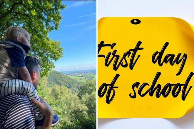 Left: Child on man's shouldersRight: First day at school sign