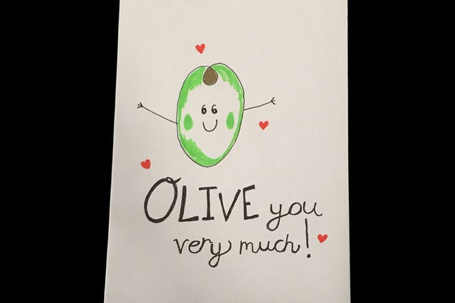 Mother's Day card with olives
