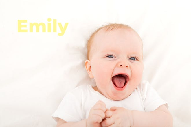 Laughing baby. Name Emily written in text
