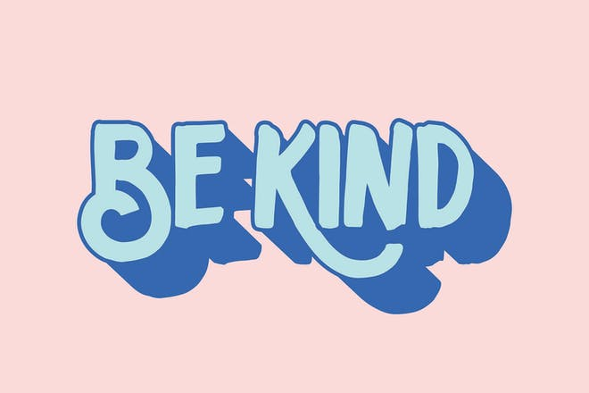 Blue text that says 'be kind' on pink background