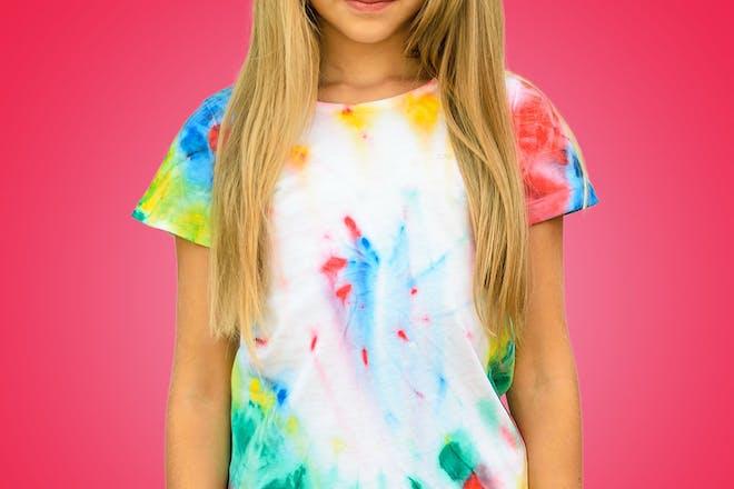 Young girl wearing tie dye t-shirt
