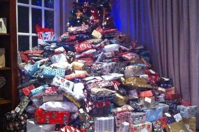 Massive pile of christmas gifts
