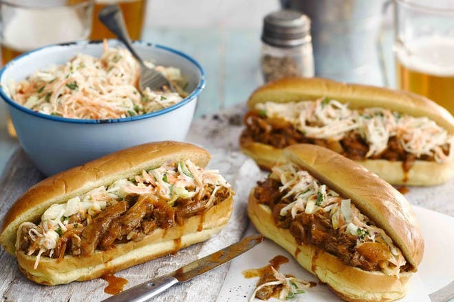 Beef hotdogs with slaw